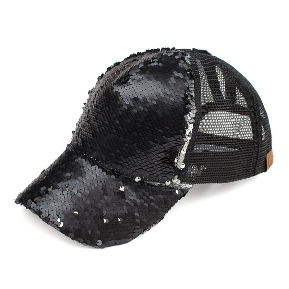 fbfa3717366 Black   Silver Reversible Sequins Pony Cap